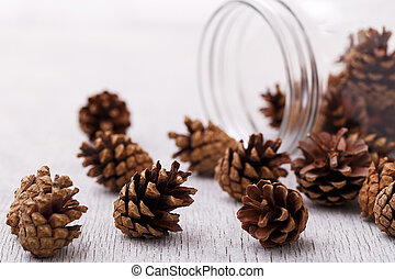 Pinecones on the floor - Heap of pinecones on the wooden...