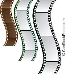 wavy film isolated on a white background.