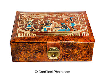 Leather gift box with Egyptian ornaments - Vintage leather...