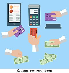 Icon set of cash and cashless payment methods - Icon set...
