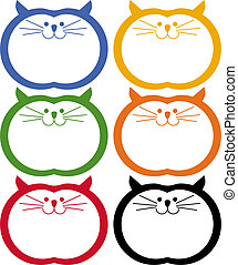 Fat Cat Icon Set isolated on a white background.