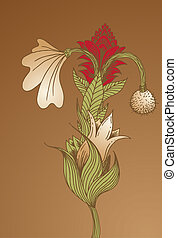 Floral Arrangement isolated on a brown background.