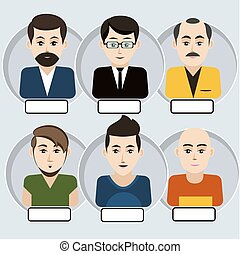 Set of stylish avatars man icons - Set of stylish avatar of...