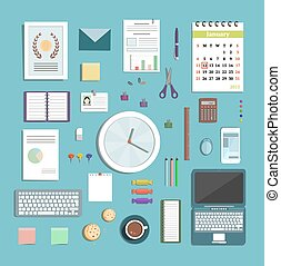 Office Supplies Collection Flat Style Illustration -...