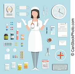 Doctor Standing Ready to Work with Pills Medications Bottles...