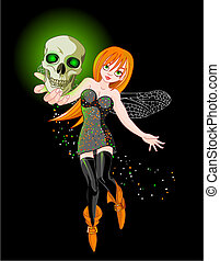 Flaying witch - Vector illustration of a witch flaying at...