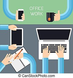 Businessmen hands with different office activities
