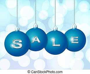 Blue Christmas balls with silver word Sale - Blue Christmas...