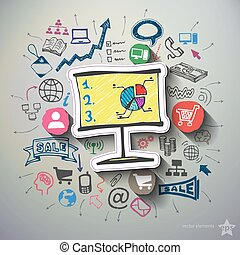 Business and finance collage with icons background Vector...