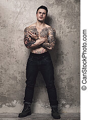 Man with tattoo - Tattooed guy with perfect body