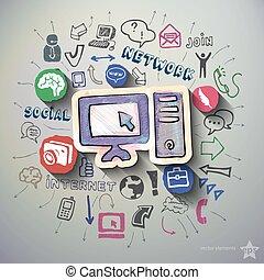 social, media, collage, med, ikonen, bakgrund,