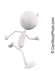 3d White Character with running