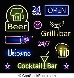 Glowing Neon Lights Bar Signs on Black Background - Assorted...