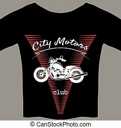 Motorcycle design template for t-shirt - Black t-shirt with...