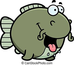 Hungry Cartoon Catfish - A cartoon illustration of a catfish...