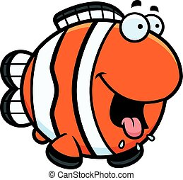 Hungry Cartoon Clownfish - A cartoon illustration of a...