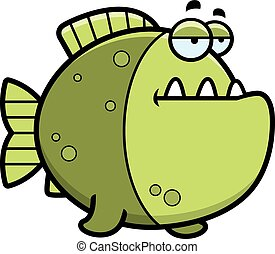 Bored Cartoon Piranha - A cartoon illustration of a piranha...