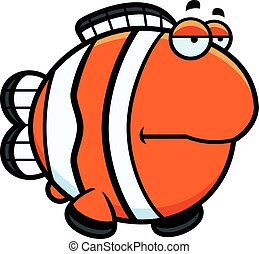 Bored Cartoon Clownfish - A cartoon illustration of a...