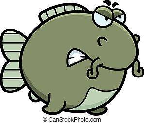 Angry Cartoon Catfish - A cartoon illustration of a catfish...