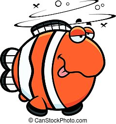 Cartoon Drunk Clownfish - A cartoon illustration of a...