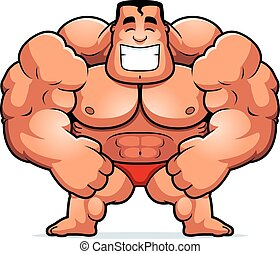 Cartoon Bodybuilder Flexing - A cartoon illustration of a...