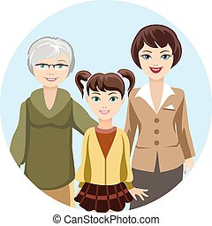 Cartooned Females in Different Ages - Colored Graphic Design...