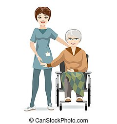 Senior Woman on Wheelchair and Nurse - Colored Cartooned...