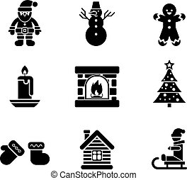 Black Christmas Icons on White Background