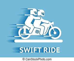 Swift ride icon with two bikers wearing helmets riding on a...