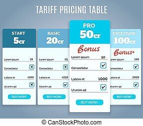Tariff Pricing Table with Labels - Vector Tariff Pricing...
