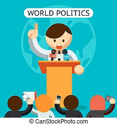 Cartooned World of Politics Concept - Colored Graphic Design...
