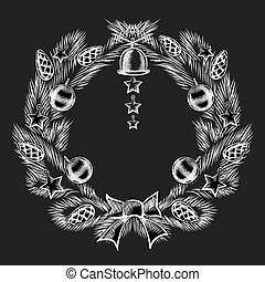 Attractive Chalkboard Christmas Wreath Design - Graphic...