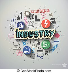 Industry collage with icons background