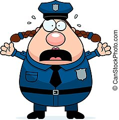 Scared Police Woman - A cartoon illustration of a police...