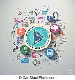 underhållning, och, musik, collage, med, ikonen,...