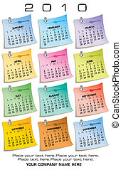 Colorful Calendar for 2010 Made of sticky notes With Space...
