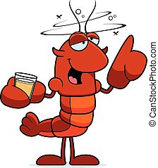 Drunk Crawfish - A cartoon illustration of a crawfish...