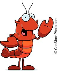 Crawfish Waving - A cartoon illustration of a crawfish...
