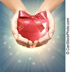 Holiday background with hands holding gift box. Concept of...