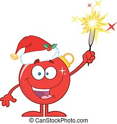 Happy Red Christmas Ball Cartoon Character Giving A...