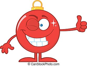 Winking Red Christmas Ball Cartoon Character Giving A Thumb...