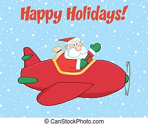 Santa Claus Flying A Plane