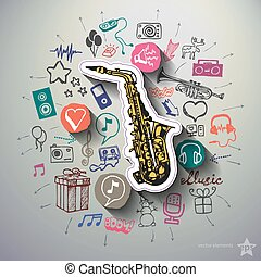 Entertainment and music collage with icons background Vector...