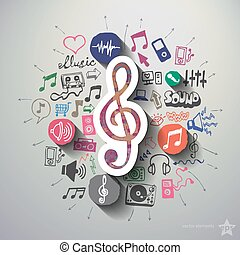 Music and entertainment collage with icons background Vector...