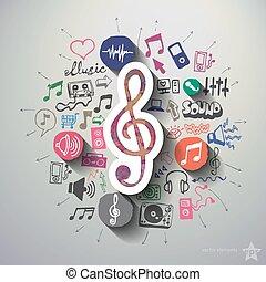 musik, och, underhållning, collage, med, ikonen,...