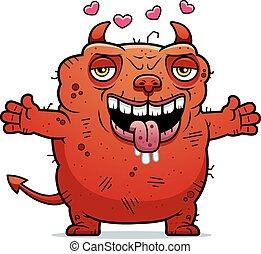 Ugly Devil Hug - A cartoon illustration of an ugly devil...