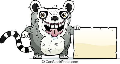 Ugly Lemur Sign - A cartoon illustration of an ugly lemur...