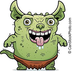 Ugly Gremlin Standing - A cartoon illustration of an ugly...