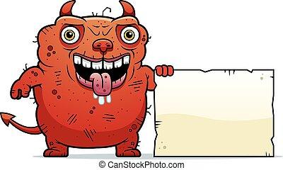 Ugly Devil Sign - A cartoon illustration of an ugly devil...