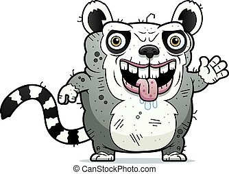 Ugly Lemur Waving - A cartoon illustration of an ugly lemur...